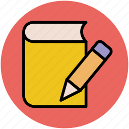 daybook, diary, education, notebook, pencil icon