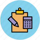calculator, clipboard, education, pencil, study icon