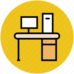 computer, computer desk, computer table, workplace, workstation icon