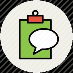 bubble chat, clipboard, conversation, speech bubble, talking icon