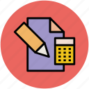 calculator, diary, education, paper and pencil icon