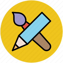 designing, drawing, education, paintbrush, painting, pencil icon