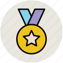 champion, medal, prize, star medal, winner, winning medal icon