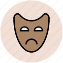 face mask, mask, sad mask, theater mask, tragicomedy icon