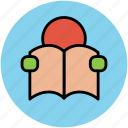 education, holding book, reading, reading book, student, studying icon
