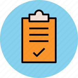 accepted, approved list, checked list, clipboard, verified document icon