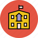 college, institute, real estate, school, school building icon