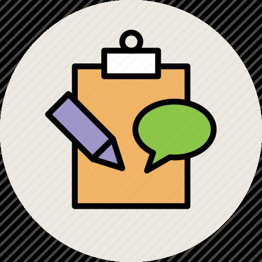 bubble chat, clipboard, education, pencil, speech bubble, study icon