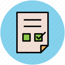check mark, checked, checklist, documents, sheet, task sheet icon