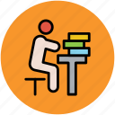 classroom, reader, reading, student, study, studying icon
