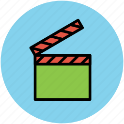 clapboard, clapper, clapperboard, slate, slate board, sound marker icon