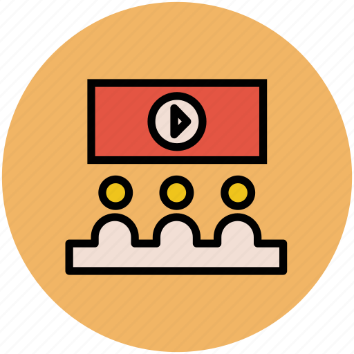 classroom, education, lecture on projector, presentation, video lecture icon