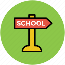 direction board, finger post, guide post, school direction icon
