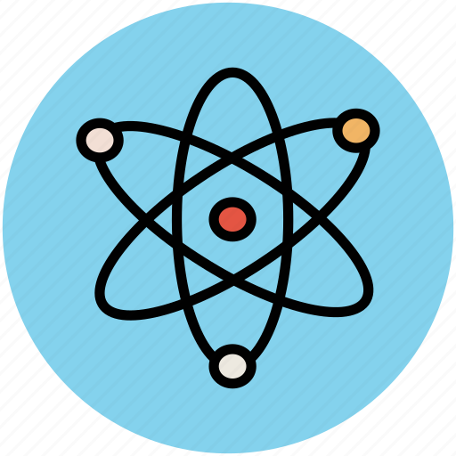 atom, atomic nucleus, education, electrons, physics atom icon