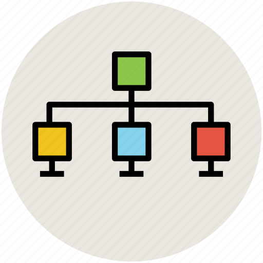 computers connected, hierarchy, internet connection, network, server icon