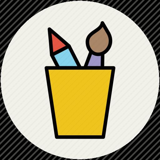box, container, holder, pen box, pencil box, pencil case, pencil holder, pencils, stationery icon