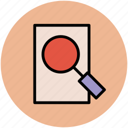 document, magnifier, magnifying, search document, sheet, view, zoom icon