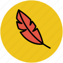 bird feather, feather, feather pen, quill, quill pen, writing tool icon