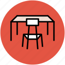 chair, desk, furniture, study desk, study table, table icon