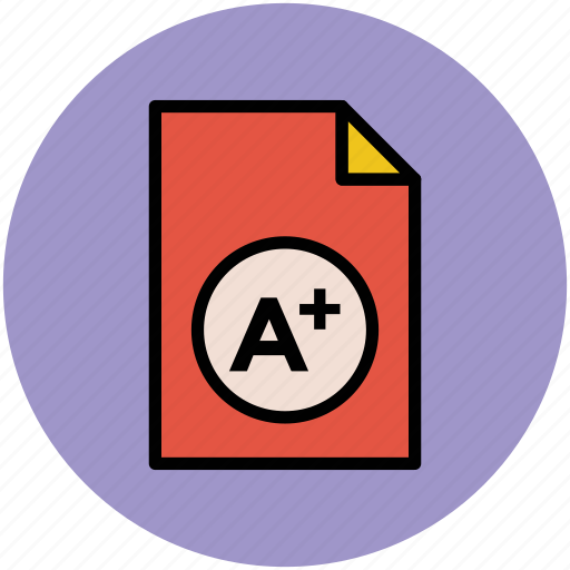 a plus grade, report card, test result icon