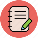 diary, jotter, log pad, notebook, notepad, writing, writing pad icon