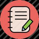 diary, jotter, log pad, notebook, notepad, writing, writing pad icon