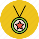 award, champion medal, medal, star medal, winning medal icon