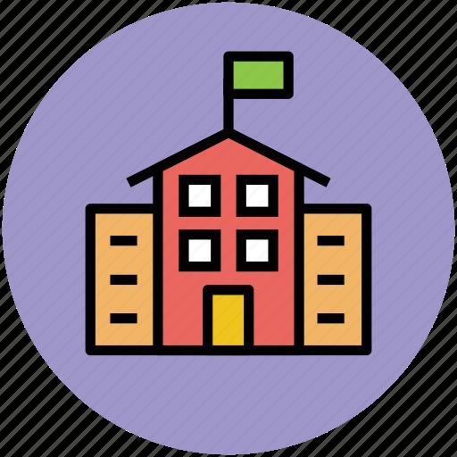 building, institute building, real estate, school, school building icon