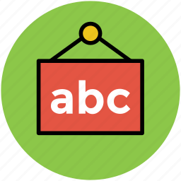 abc signboard, board, classroom, education info, hanging board icon