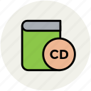 book, cd, cd book, disk, education, learning book, learning cd icon