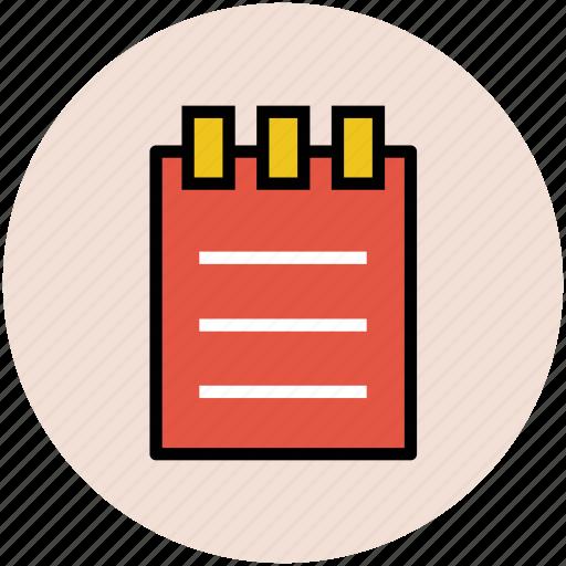 diary, log pad, notebook, notepad, steno pad, writing pad icon