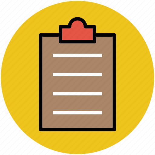 clip paper, clipboard, documents, notes, writing icon