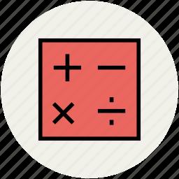 accounting, calculator, calculator keys, mathematical signs, maths, maths symbols icon