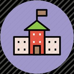 building, educational institute, real estate, school, school building icon