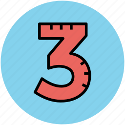 accounting, digit, math, three, three number icon