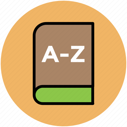 a-z, a-z book, complete book, english book, english dictionary, knowledge, stationery icon