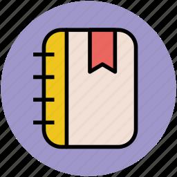 jotter, log pad, notebook, notepad, steno pad, writing pad icon