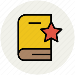 education, favorite book, star, star on book, study book icon