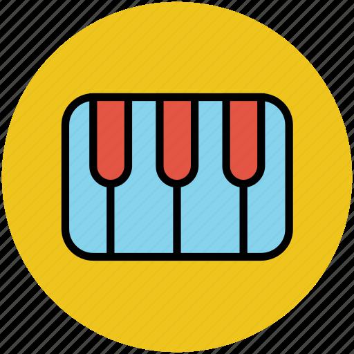 music, musical instrument, piano, piano keyboard, piano keys icon