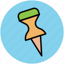 document pin, map pin, paper pin, push pin, thumbtack icon