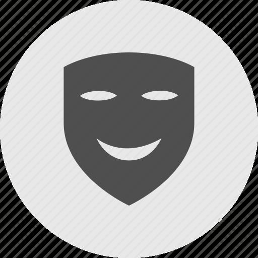arts, circle, happy, joy, laughing, mask, smiling icon