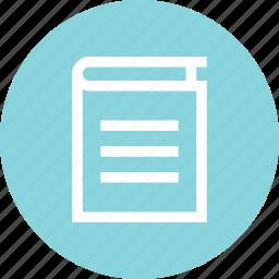book, cover, descript, learn, learning, title icon