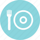 cafeteria, circle, fork, lunch, menu, plate icon