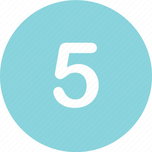 five, number, online icon