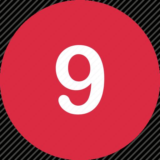 nine, number, online icon