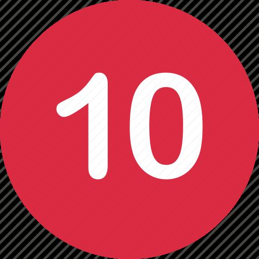 number, online, ten icon