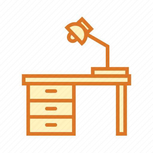 class room, education, learning, study lamp, study room, study table icon