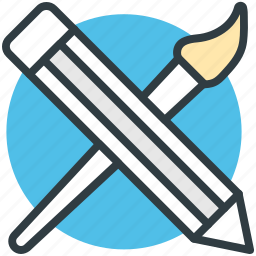 brush, paint brush, painting, pencil, pencil and brush icon