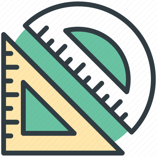 degree scale, drafting, geometry, sketching, triangle scale icon