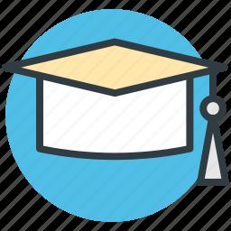 awarded cap, degree cap, graduate cap, mortarboard, tassel cap icon